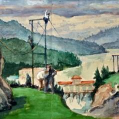 Proiect de pictură murală , acuarelă pe carton, 20,5 × 64,5 cm, 1952