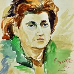 Sora cea mică a artistului, acuarelă pe hârtie, 49 × 34 cm, 1957
