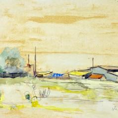 Peisaj dobrogean, acuarelă pe hârtie, 32 × 47 cm, 1958