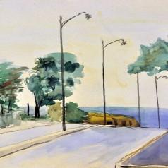 Peisaj la mare, acuarelă pe hârtie, 34,5 × 49 cm, 1958