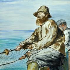 Pescari la năvod ulei pe lemn, 50 × 65 cm , 1934