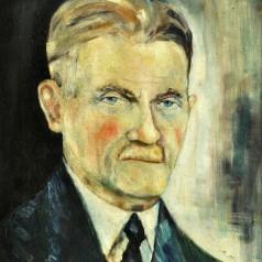 Gheorghe, tatăl artistului , ulei pe carton, 38,5 × 33 cm, 1945