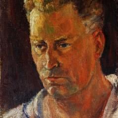 Autoportret, ulei pe pânză, 30 × 25 cm, 1957