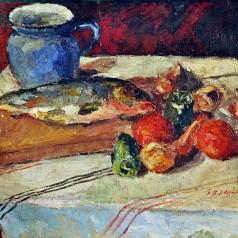 Natură statică cu peşte, ulei pe pânză, 44 × 61 cm, 1957