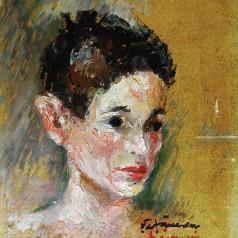 Portret de copil (Radu), ulei pe carton, 35,5 × 27,5 cm, 1957