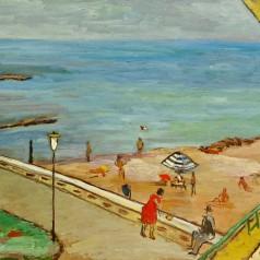 Plajă la Belona, ulei pe carton, 49 × 70,5 cm, 1957