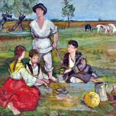 Copii cu vitele la păscut, ulei pe pânză, 71 × 92 cm, 1958
