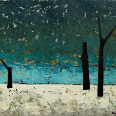 Peisaj de iarnă (Nostalgie) ulei şi colaj pe carton, 50 × 70 cm, 1965