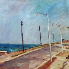 Faleză la Eforie, ulei pe carton, 43,5 × 53,5 cm, 1957