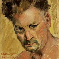 Autoportret (Râmnic), ulei pe carton, 35,5 × 27,5 cm, 1958