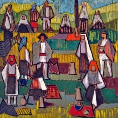Sărbătoare la ţără, ulei pe carton, 46,5 × 47,5 cm, 1959
