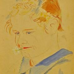 Portret de copil acuarelă pe hârtie, 24 × 19,5 cm, 1933