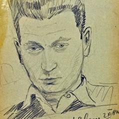 Autoportret (la Deleni) creion pe hârtie, 35 × 26 cm, 1940