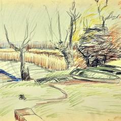 Peisaj cu bărci creion pe hârtie, 34 × 49 cm, 1956