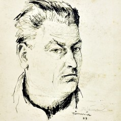 Autoportret ( Râmnic ) tuş pe carton, 50 × 41 cm, 1959