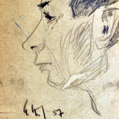 Cap de bărbat  creion pe hârtie, 21 × 14 cm, 1957