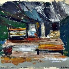 """""""Întoarcerea"""" de Mihai Beniuc, regie : Ion Olteanu tempera pe carton, 35 × 47,5 cm, 1961"""