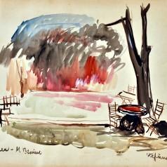 """""""Întoarcerea"""" de Mihai Beniuc, regie : Ion Olteanu tempera pe carton, 34 × 49 cm, 1961"""