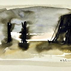Studiu decor acuarelă pe hârtie, 21 × 30 cm, 1961