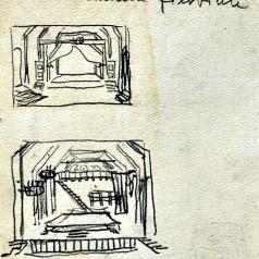 """""""Camera fierbine"""" de  Al.I. Ștefănescu, regie : Dinu Negreanu creion pe hârtie, 46 × 31,5 cm, 1962"""