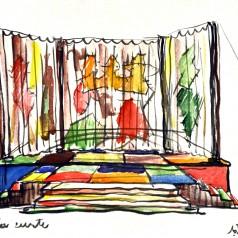 """""""Bertoldo la Curte"""" de Massimo Dursi, regie : Valeriu Moisescu acuarelă pe carton, 35 × 50 cm, 1962"""