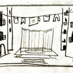 """""""Bertoldo la Curte"""" de Massimo Dursi, regie : Valeriu Moisescu creion pe hârtie, 21 × 30 cm, 1962"""