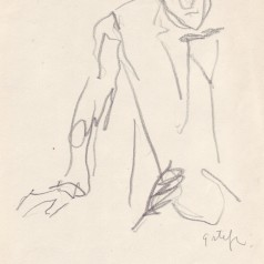 """""""Pădurea spânzuraților"""", regie : Liviu Ciulei  creion pe hârtie, 21 × 14 cm, 1965"""