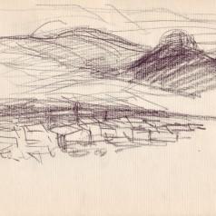 """""""Pădurea spânzuraților"""", regie : Liviu Ciulei  creion pe hârtie, 16,5 × 23 cm, 1965"""
