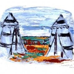 """""""Luceafărul"""" de Barbu Ștefănescu-Delavrancea, regie : Ion Cojar tempera pe carton, 43 × 61 cm, 1967"""