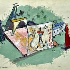"""""""Mamouret"""" de Jean Sarment, regie : George Teodorescu tempera pe carton, 43 × 61 cm, 1960"""