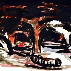 """""""Contrapuncte"""" de Paul Everac acuarelă pe hârtie, 25,5 × 35,5 cm, 1969"""