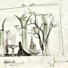 Studiu decor creion pe hârtie, 21 × 30 cm,