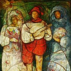 15 2914 Menestreli (Colindatorii de neam), ulei pe panza, 100x81 cm, 1982