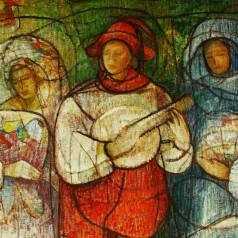 Menestreli (Colindătorii de neam) - detaliu, ulei pe pânză, 100 × 81 cm, 1982