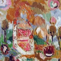 1975 R(35), Peisaj cu cetate, 38x44 cm, ulei pe panza 01